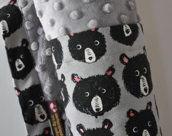 Baby Blanket, X LARGE, Snuggle Size, Bears and Grey Minky