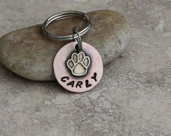 Tiny Paw / Pet ID Tag / Brass / Copper / Dog Tag / Cat Tag / Small Breed / Toy Breed / Personalized / Customized / Key Chain / Handmade C064