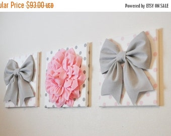 """SALE Baby Girl Nursery - Wall Decor - Large Gray Bows and Light Pink Dahlia on Polka Dot 12 x 12"""" Canvases Pink and Gray Baby Nursery  Art"""