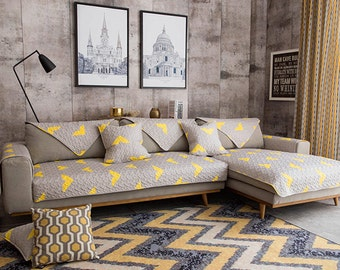 Grey Yellow Geometric Sofa Cover Couch Slipcover Loveseat Cover Cotton Gray  Abstract Home Decor