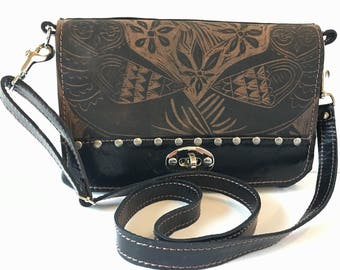 """Leather Clutch, messenger bag, convertible, small, owl print, """" the Emma"""""""