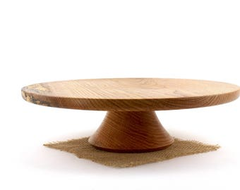 "14 7/8"" Wooden Red Oak Cake Stand, Wooden Wedding CakeStand,  Pedestal Cake Plate ,Cupcake Stand"
