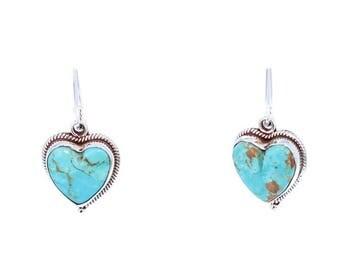 KINGMAN TURQUOISE Hearts Earrings Deep Sky Blue NewWorldGems