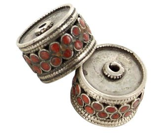 Antique Tibetan Coral Beads Sterling Centerpiece Bead Pair Asianbeads