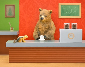 Coffee lover gift, kitchen or hipster baby nursery art print with woodland animals: Bearista