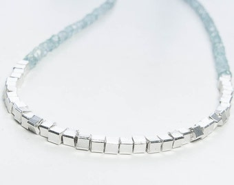 Aquamarine Necklace. Sterling Silver Necklace, Layering Necklace. Geometric Gemstone Jewelry. March Birthstone