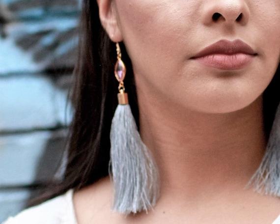Long Gray Tassel Earrings