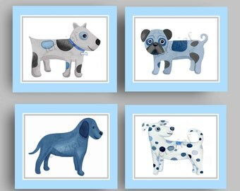 dog nursery kids art, blue gray nursery children art prints, dog art prints , dog paintings