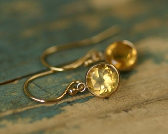 Gold citrine earrings, November birthstone earrings, dainty earrings gold birthstone earrings - Amy