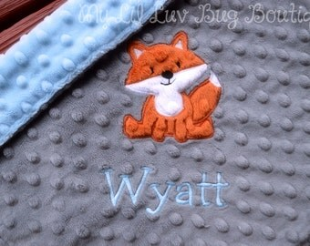 Fox baby blanket personalized small- Charcoal grey baby blue and rust fox- lovey blanket