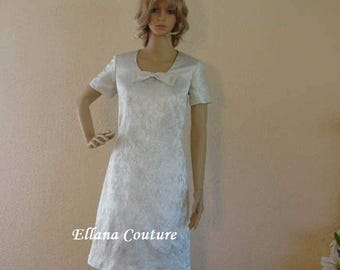 Ida - Sixties Inspired Knee Length Wedding Dress.