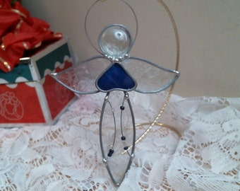 stained glass clear ANGEL with blue heart & beads suncatcher or ornament