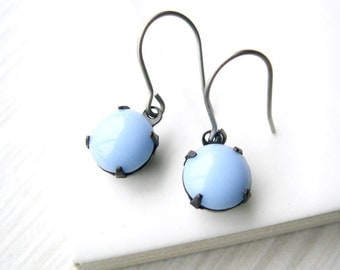 Blue Drop Earrings - Nickel Free Titanium Earwires, Periwinkle, Simple Jewelry, Glass Dangle