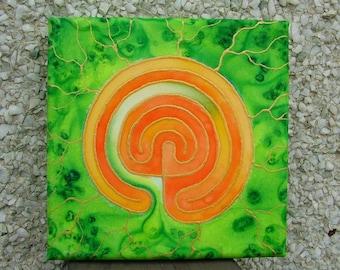 Labyrinth Silk Painting Meditation Mandala  Green and Orange Spiritual Journey