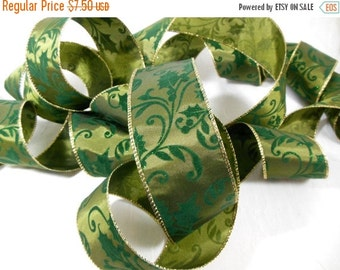 Holiday SALE Christmas Ribbon Green Holly and Gold Wired Edges for Holiday Decor