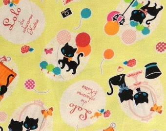 Lolo from Kokka Fabrics - Full or Half Yard Lightweight Canvas Party Black Cat with Balloons on Yellow