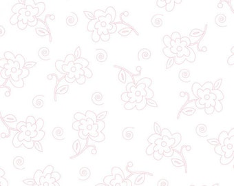 Fab Friend'zy from Henry Glass Fabrics - Full or Half Yard Pink Flowers on White