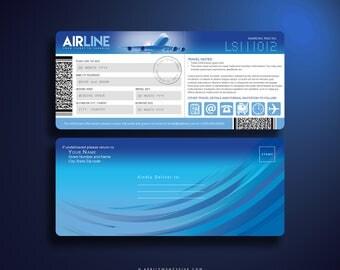 ALBA Boarding Pass / Airline Ticket Invitation Template (Digital Download)