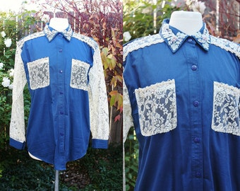 1990's Embellished blouse Dark Blue Ivory Lace Beads Sequins Medium Vintage Retro 90's Cottage Chic Feminine Cotton Navy