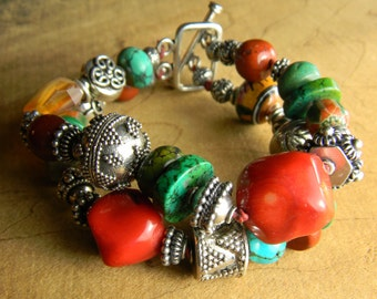 Tribal Jewelry Bracelet Coral Turquoise Agate Multi Two-Strand Sterling Silver Boho Bohemian