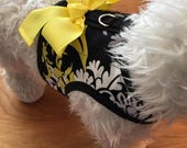 Black n Yellow Print Small Dog Harness, floral, Made in USA, small dog harnesses, pet clothing