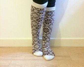 Knitted Wool socks Knee Length White Brown Snowflake Nordic Fair Isle Traditional Pattern