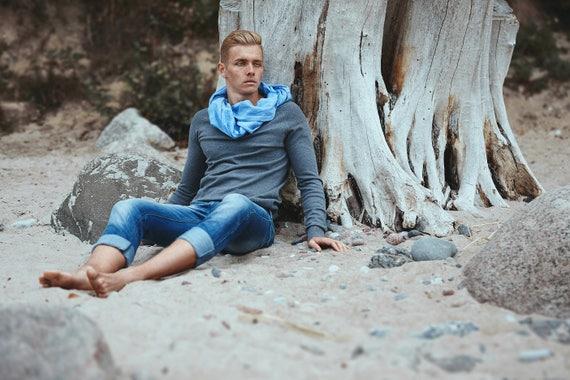 Blue linen scarf, spring summer scarf, men scarf, women scarf