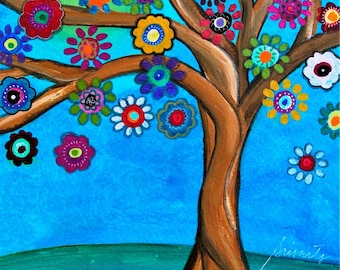 Whimsical Tree of Life Blooming Flowers Folk Art Mexican Original PRISARTS Painting