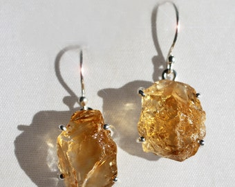 Drops of the Sun - Natural Rough Citrine Gemstone Drop Sterling Silver Earrings