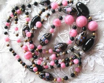 Vintage Wedding Cake Beaded Necklace ~ 3 Strand ~ Pink ~ Black ~ Crystal