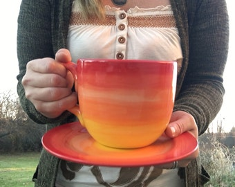 Yellow and Orange Ombre Jumbo Soup Mug with Matching Saucer Plate - 30 oz. - Extra Large Mug and Dish Set