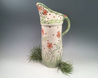 Pitcher/large pitcher/pottery pitcher/water pitcher/flowered pottery/white pottery/polka dots/wedding gift