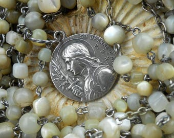 Jeanne                  Antique French Saint Joan of Arc Mop Rosary Wrap Necklace