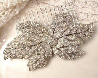TRUE Vintage Art Nouveau/Art Deco Bridal Hair Comb/Dress Sash Brooch, Crystal Rhinestone Large Leaf 1920 1930 Wedding Hairpiece Rustic Chic