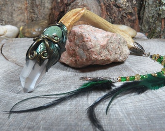 Antler Wand in Emerald Green and Gold Leaf, Witch's Wand, Wiccan Wand, Witchcraft, Crystal Wand,   Clear Quartz Wand, Magic Wand, Greenery