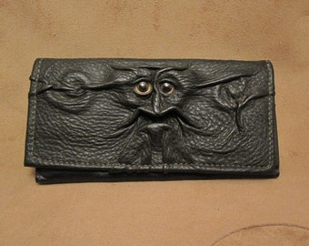 Grichels leather ladies wallet - black with golden brown fish eyes