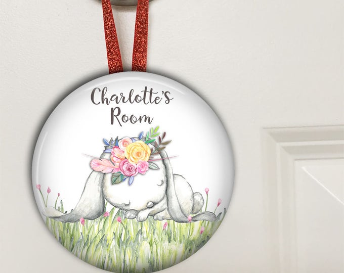 Kids door signs for girls room - personalized baby girl gifts - door knob hangers - bunny nursery decor - HAN-PERS-6