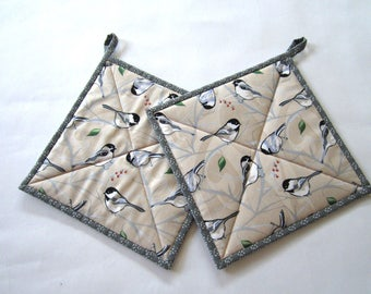 Pot Holders Set of 2 - Birds Potholders, Chickadees, Neutral Colors, Kitchen, Hot Pads, Nature