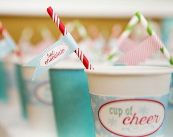 Hot Chocolate Bar Straw Flags - Cocoa Bar Drink Flags - ONEderland Birthday Party Straw Flags - Winter Birthday Party - Penguin Party