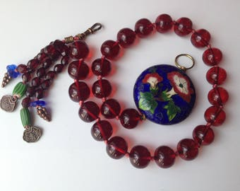 Cherry Bakelite Amber Cobalt Blue Chinese Cloisonne Necklace – One of a Kind