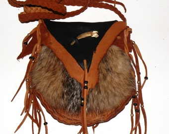 Badger fur and leather medicine bag mountain man rendezvous pow wow purse cross body