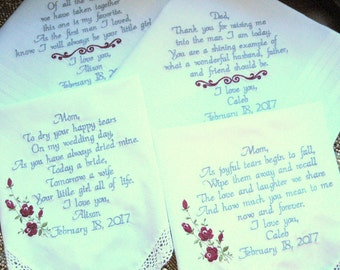 Wedding Gifts for Mom and Dad of the Bride Groom Parents Inlaw Fiances Embroidered Wedding Handkerchiefs, Gifts, Set of 4 Canyon Embroidery