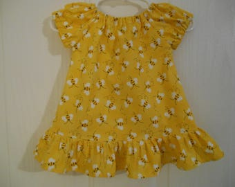 Girls peasant dress bumblebee with color choose of sleeves and ruffle elastic or flutter sleeves & ruffle infant thru 6 years