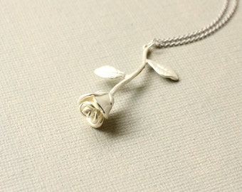 Rose Stem Necklace. matte silver rose stem necklace. rose flower pendant. anniversary birthday gift