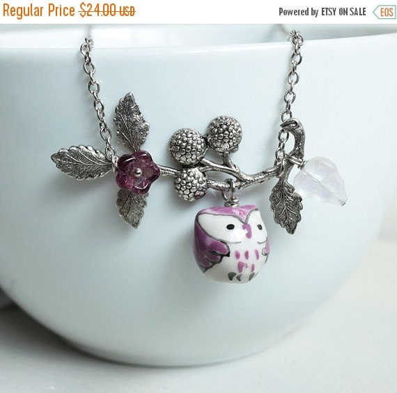 Holiday Sale Purple Owl Necklace. purple porcelain owl and berry branch necklace.