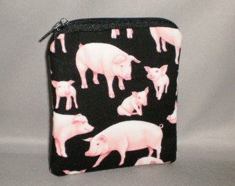Coin Purse - Gift Card Holder - Card Case -Small Padded Zippered Pouch - Mini Wallet - Pig - Piggies