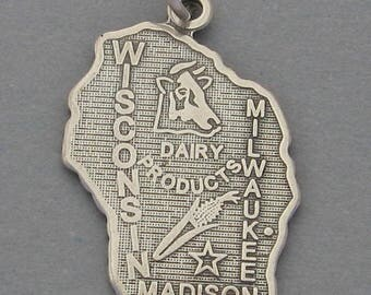 New Sterling Silver .925 Charm Pendant WISCONSIN State Map SC648