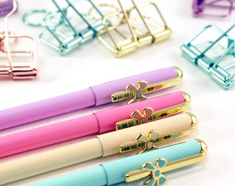 Slim and Chic dainty bow gel pen - fine point pen with gold accents and bow detail - planners, scrapbooking, journaling