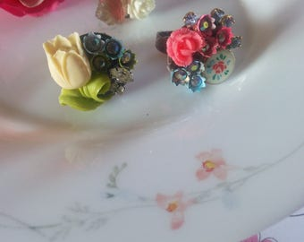 Tulip flowers .collection shabby chic vintage assemblage ring