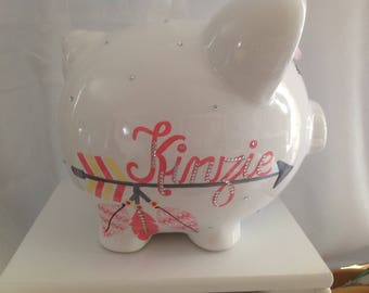 Personalized Large Feather and Arrows Chevron Crystal Piggy  Bank Newborns , Birthday Flower Girl,Baby Shower Gift Centerpiece